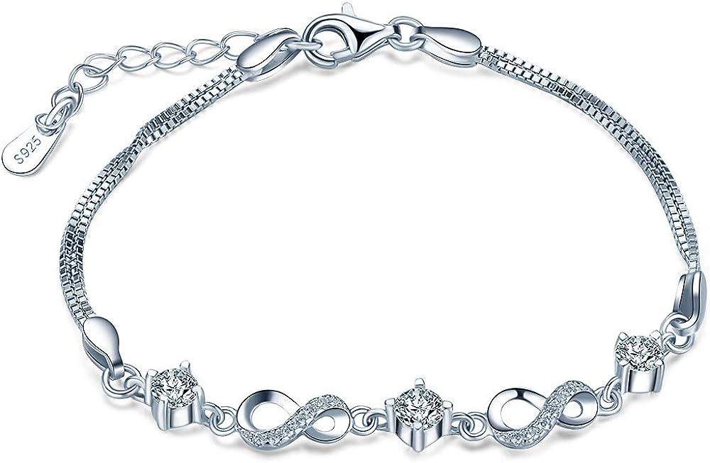 Pulsera Mujer,Infinito U- Pulsera de Diamantes Plata de Ley 925 con Brillante Circonita, Símbolo del infinito,Idea Regalo para Chica, Mujer