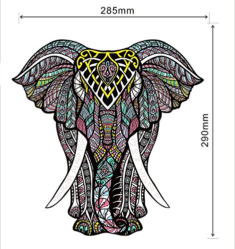 hartmaze Wooden Jigsaw Puzzles - Decorative Elephant HM-06 Small Size Puzzle 171 Unique Shape Jigsaw Pieces-Beautiful Animal for Adults and Kids- Best for Family Game Play Collection.