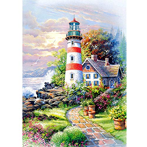 MXJSUA 5D DIY Diamond Painting by Number Kit Fulll Round Dril Beads Crystal Rhinestone Embroidery Cross Stitch Picture Supplies Arts Craft Wall Sticker Decor Hut Lighthouse 12x16In