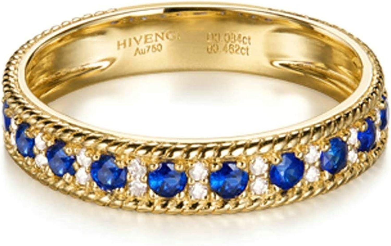 Daesar Anillo de Mujer Oro Azul Anillos de Compromiso Oro Amarillo 18K Redondo Zafiro/Rubí 0.564ct Diamante 0.084ct