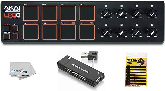 Akai Professional LPD8 - Controlador de almohadillas USB MIDI + Hub USB de 4 puertos + paquete de bridas para cables + paño de limpieza