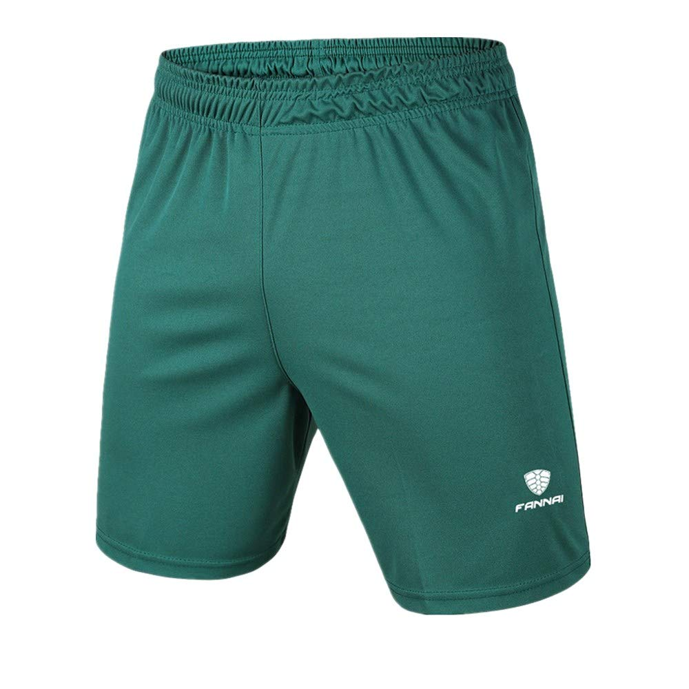 Serzul Men's New Elastic-Waist Sport Shorts Running Training Jogger Pants Pure Color Breathable Trousers Green