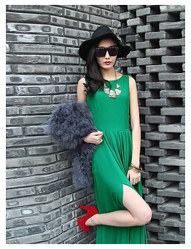 PU&PU Robe Aux femmes Swing Street Chic,Couleur Pleine Col Arrondi Maxi Polyester , green-l , green-l