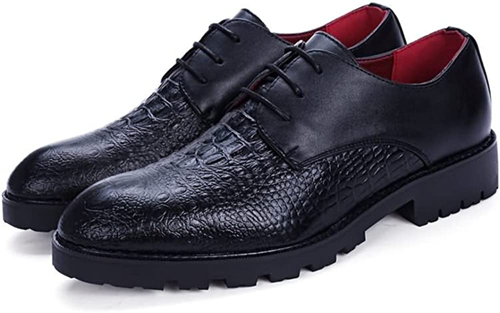 HYF Mens Business Casual Oxfords Pointed Toe Block Heel Lace Up Leisure Shoes Dress Shoes Business Shoes for Men
