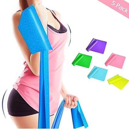 jiele Bandas elásticas para Yoga, Pilates, Entrenamiento de Fuerza o Terapia física (Rosa, Azul, Verde, Amarillo Claro, Morado)
