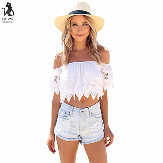NINGNETI Moda mujeres bohemio encaje blusa blanca de hombro recortar camisetas (S)