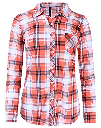 Ladies' Code Plaid Button Down Shirt Blouse Roll Up Sleeve, Lctl018 Orange Black Blue, Small