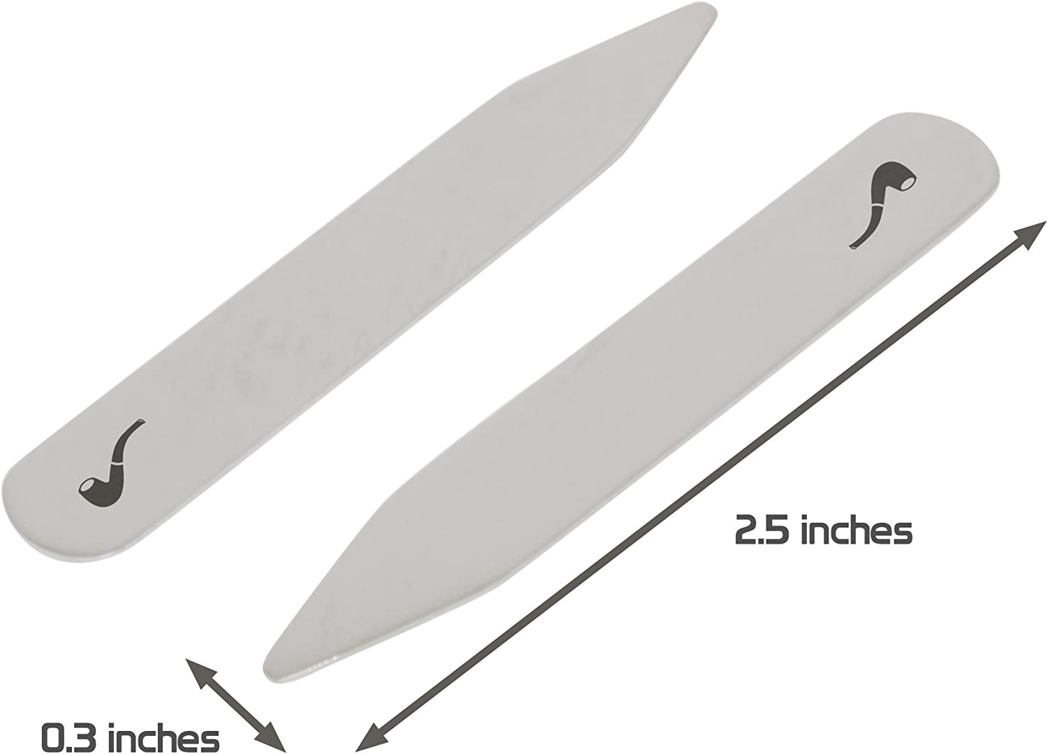 2.5 Inch Metal Collar Stiffeners MODERN GOODS SHOP Stainless Steel Collar Stays With Laser Engraved Pipe Design Made In USA