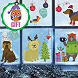Dogs Wall Decals for Kids - Winter Decorations Wall Stickers Cute Window Clings Ornaments - Nursery Room Decor [>30 Art Decals] with Free Bird Gift!