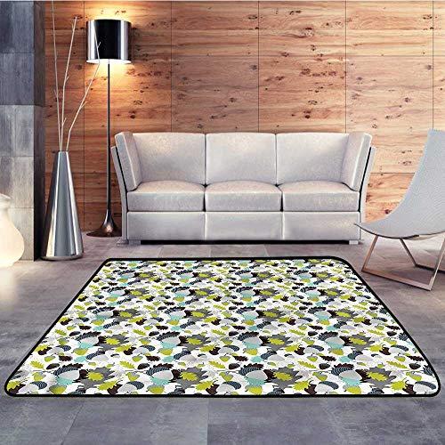 (Office Floor mats,Autumn Fall,Abstract Acorns LeavesW 78.7