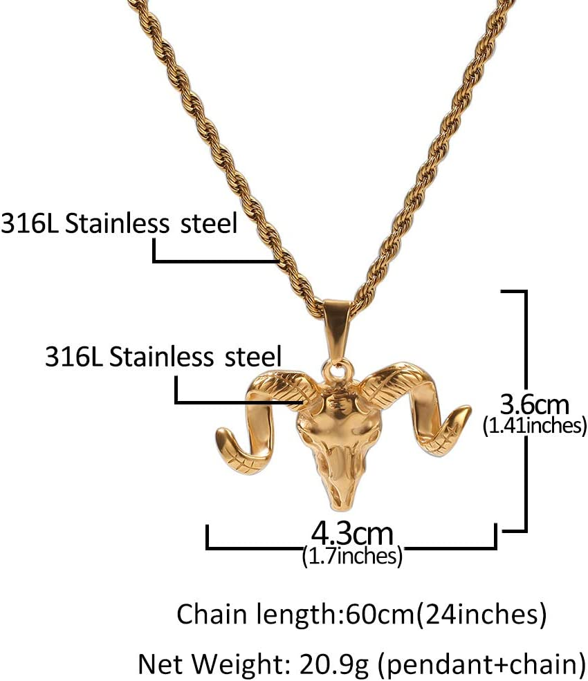 Necklace Hip hop Gold-Plated Shofar Necklace Pendant Hipster Sweater Chain Men and Women Accessories Chain Necklace Couple Gift Silver