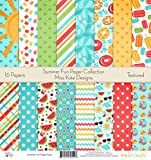 Pattern Paper Pack - Summer Fun - Scrapbook Card Stock Single-Sided 12''x12'' Collection Includes 16 Sheets - by Miss Kate Cuttables