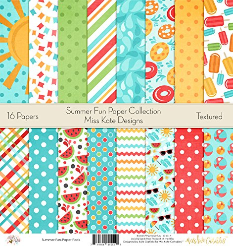 Pattern Paper Pack - Summer Fun - Scrapbook Card Stock Single-Sided 12''x12'' Collection Includes 16 Sheets - by Miss Kate Cuttables by Miss Kate Cuttables