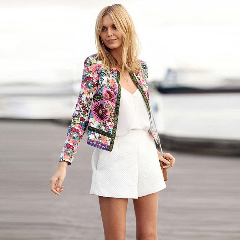 S, Red Jacket,Laimeng Women Floral Printed Long Sleeve Outwear