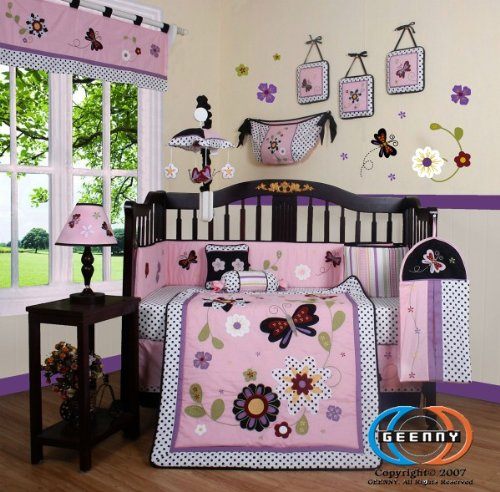 GEENNY Boutique 13 Piece Crib Bedding Set, Daisy Garden Skirt Set Daisy