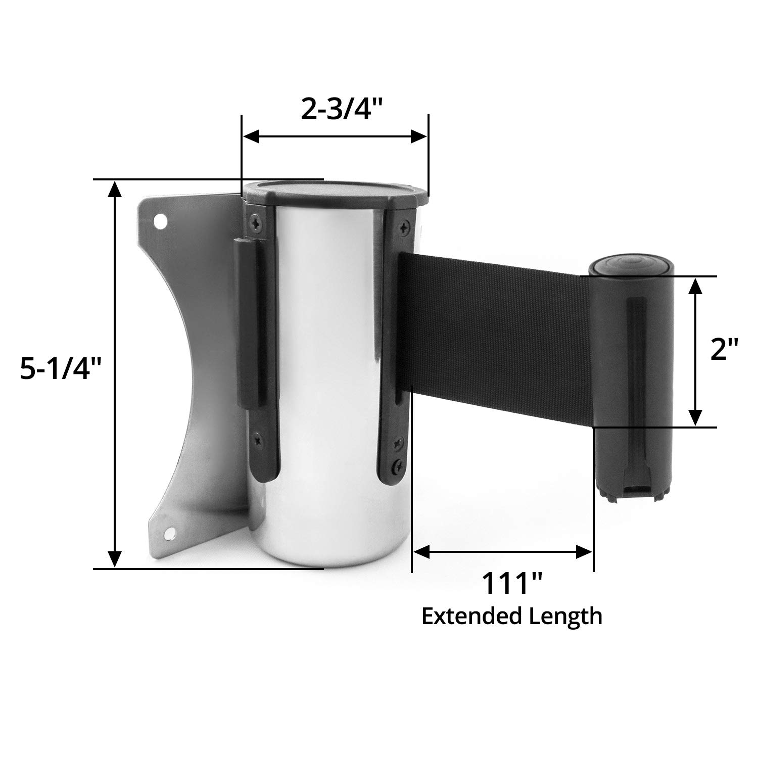 Crowd Control Wall Barrier with 9ft Black Belt for Retail Stores School Banks QWORK Wall Mounted Retractable Belt Barrier Airports