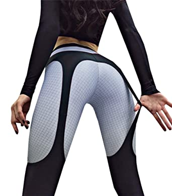 20434bd3c80034 Amazon.com: Tutorutor Womens Garter Leggings Yoga Dance Push Up High  Waisted Workout Sports Pants Black and White: Clothing