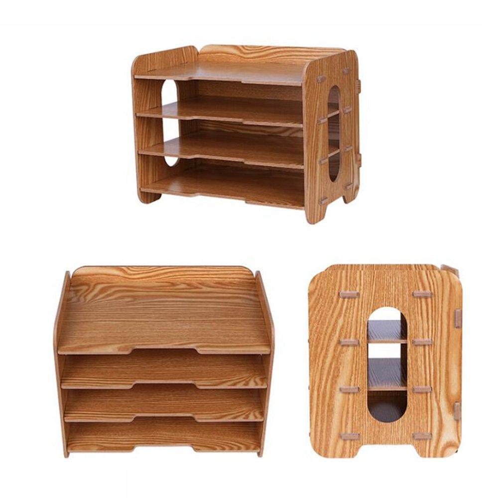 Bookcase Thick Wooden Desktop Storage Box Storage File Holder Multi-Layer Data Bookshelf Office Supplies Storage Box,WoodColor by ANHPI-bookcase (Image #5)