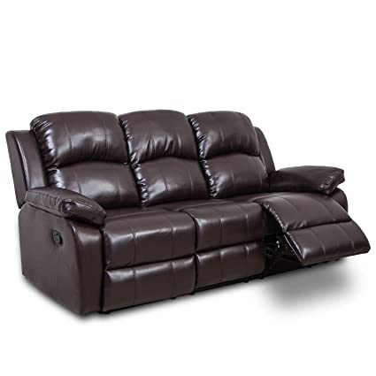 JUNTOSO Leather Sofa & Reclining Stretch Chair Three seat for Living Room Lounge Brown