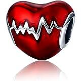 NINGAN Abalorio para Colgar Inspirado en los latidos de un corazón, Fabricado con Plata de Ley 925, Compatible con…