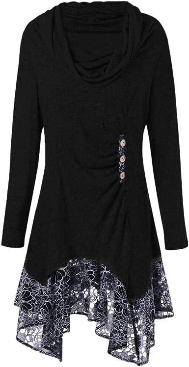 Vestido de Mujeres,Lenfesh Mujer Vestidos de Otoño Vestido Manga Larga de Encaje Mini Vestido Camisa Larga Casual: Amazon.es: Ropa y accesorios