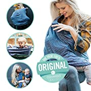 Covered Goods - The Original Multi Use Maternity Breastfeeding Nursing Cover, Infinity Scarf, and Car Seat Cover - Navy & Ivory