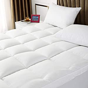 TESIONE Extra Thick Mattress Topper, Cooling Mattress Pad Cover, 400TC Cotton Pillow Top with Breathable Spiral Fiber Filling, Queen