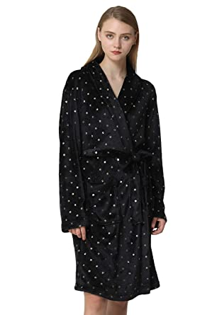 53983584dc Anna King Women s Flannel Robe Fleece Super Soft Warm Luxurious Plush  Bathrobe S-XL