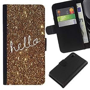 Texto de navidad del oro del brillo de Bling- la tarjeta de Crédito Slots PU Funda de cuero Monedero caso cubierta de piel Para Sony Xperia Z3 D6603