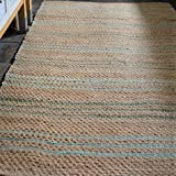 Large 150x215cm Seagrass Beige, Teal, Pale Turquoise Natural Rustic Hand woven rug Reversible Natural Fibres