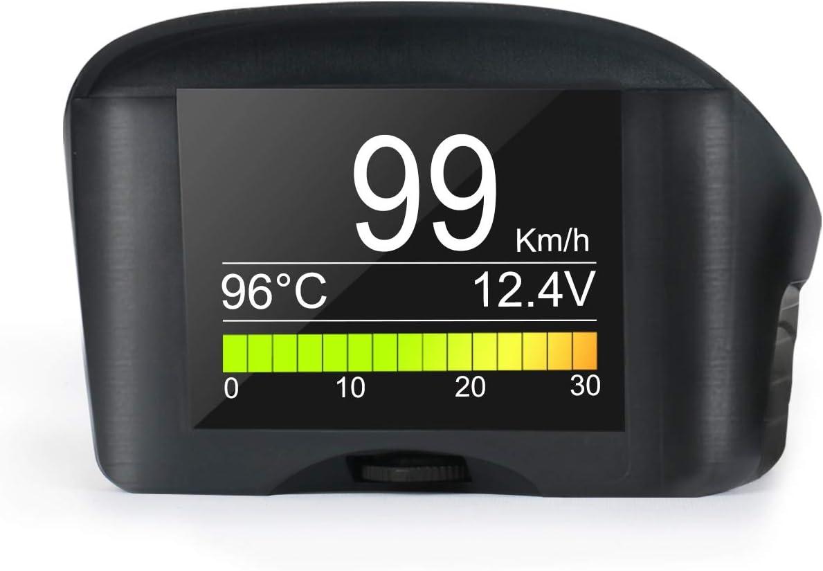 Obd2 Autowassertemperaturanzeige Digitaler Obdii Drehzahlmesser Kmh Mph Überdrehzahlalarm Autoscanner Für Allgemeine Fehlercodes Mit Lcd Anzeige Für Die Größten 12v Benzin Und Dieselfahrzeuge Auto