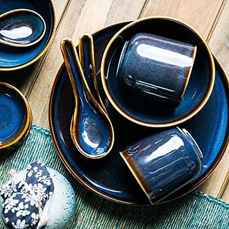 FORTR Home Azul Antigua Serie vajilla de cerámica de la Loza ...