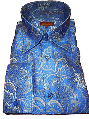 SANGI 2010 Mens French Blue Paisley Arabesque High Collar Cuffed Shirt Rome Collection (2XL)