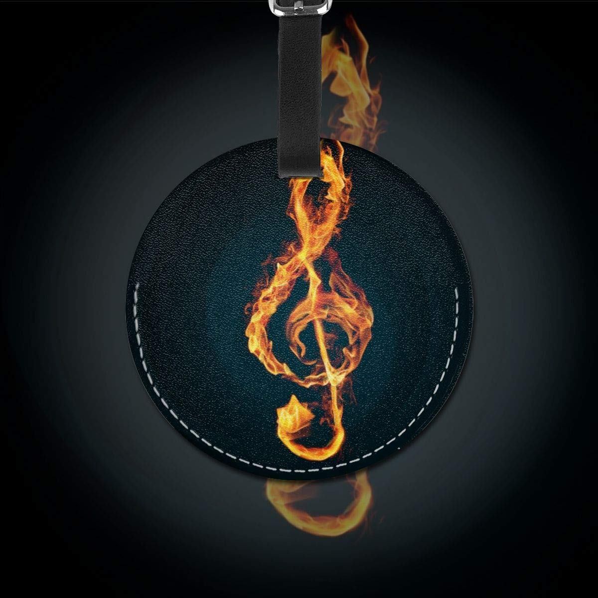Jinsshop 4 PCS Leather Luggage Tag With Name ID Card Perfect To Quickly Spot Luggage Suitcase Fire Music Notes