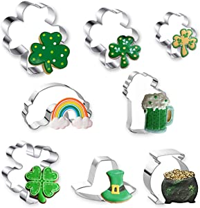 St. Patrick's Day Cookie Cutter, 8 Pcs Cookie Cutters Set Shamrock, Four Leaf Clover, Beer Mug, Rainbow, Top Hat and Pot of Gold Stainless Steel Biscuit Cutters for St. Patrick's Day Irish Party