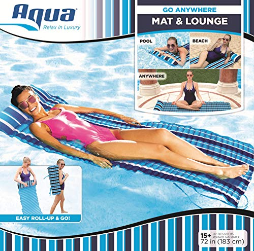Aqua 3-In-1 Roll-Up Pool Float, Padded Mat for Beach-Land-Water, Roll-Up Mat with Carry Strap, Navy/White Stripe ()