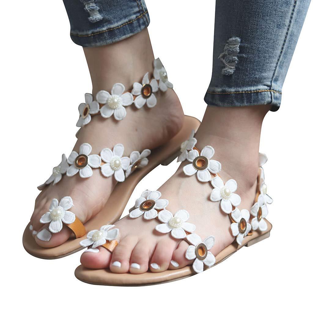 HIRIRI Summer Beach Women Bohemia Sandals Flower Decoration Sandals Flats Slip On Shoes Sandals