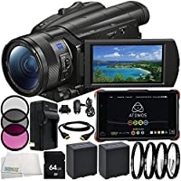 Sony FDR-AX700 4K Camcorder Atomos Ninja Flame 7 4K HDMI Recording Monitor 10PC Accessory Bundle – Includes 2x Replacement Batteries + AC/DC Rapid Home & Travel Charger + MORE