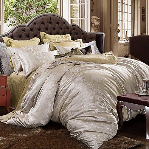 Thick warm velvet satin Jacquard four set plus short plush velvet quilt cover bedding,Queen,H