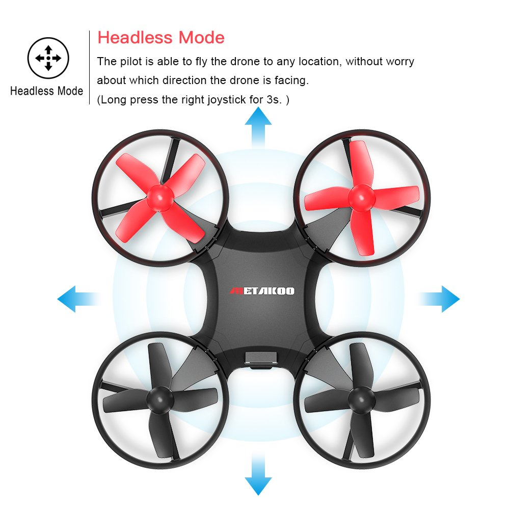 Drone, Metakoo M1 Mini Drone 2.4GHz 6-Axis Double Battery for Beginners and Kids Drone with 360°Full Protection, Altitude Hold, 3D Flips, Headless Mode, 3 Speed Modes Functions by METAKOO (Image #6)