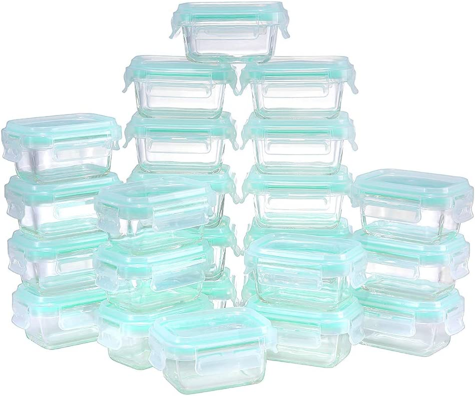 Glass Food Storage Containers with Lids Airtight, HTREN 4 oz Glass Storage Containers with Lids for Food, Glass Meal Prep Containers, 48 Pieces