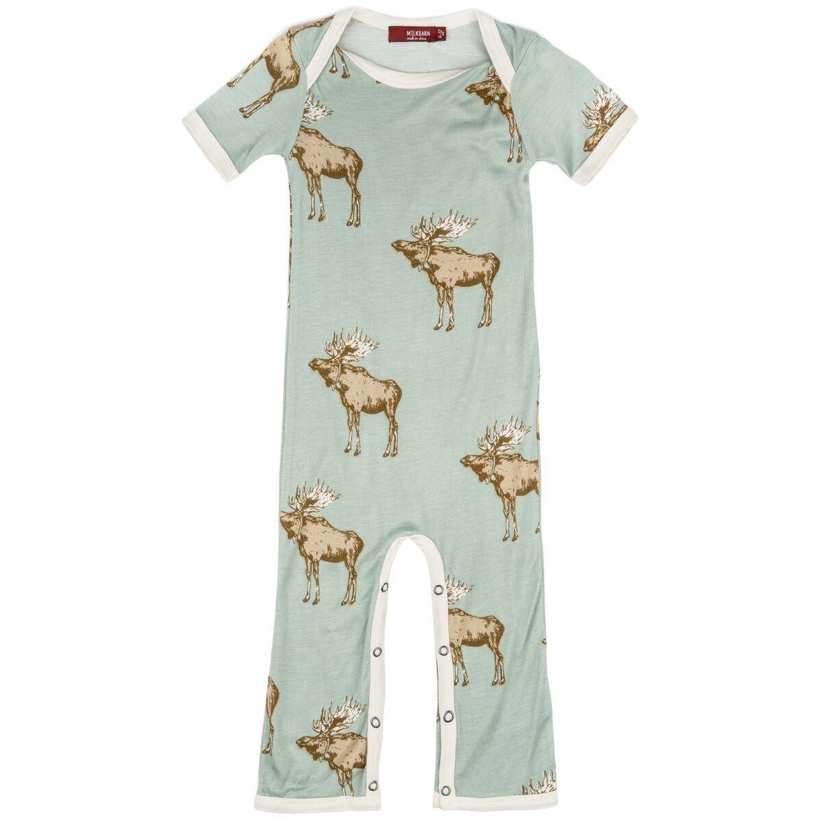MilkBarn Short Sleeve Bamboo Baby Romper Blue Moose