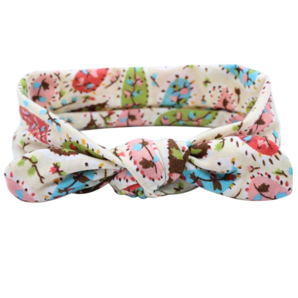 Bodhi2000/® Baby Girl Kids Toddler Floral Rabbit Ear Headband Cotton Elastic Bow Hair Band