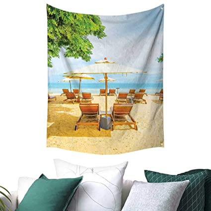 Good Anshesix Seaside Home Decor Tapestry Umbrella And Chairs On Tropical Beach  Summer Vacation Destination Image Picnic