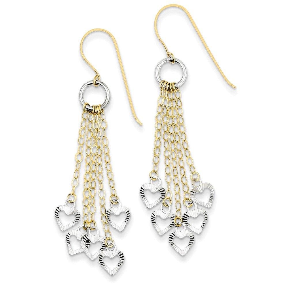 14K Two-tone Circle 5 Heart Earrings
