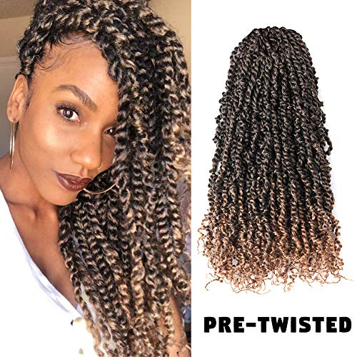 7 Packs 20inch Pre-twisted Passion Twist Crochet Hair Pre-looped TIANA Passion Twist Crochet Braids Crochet Passion Twist Hair Crochet Hair Extensions (20