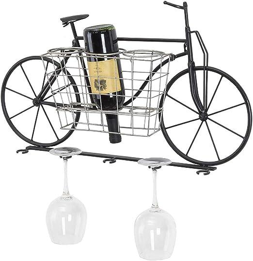 Estantería de hierro para colgar en la pared, para bicicleta, vino, botella, soporte de almacenamiento de 5 tallos largos para decoración del hogar Retro Large negro: Amazon.es: Hogar