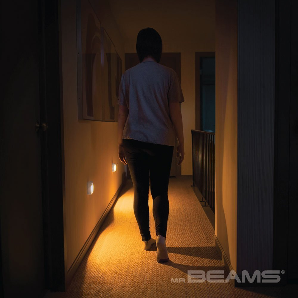 Mr. Beams MB720A Sleep Friendly Battery-Powered Motion-Sensing LED Stick-Anywhere Nightlight with Amber Color Light (3-Pack), White by Mr. Beams (Image #7)