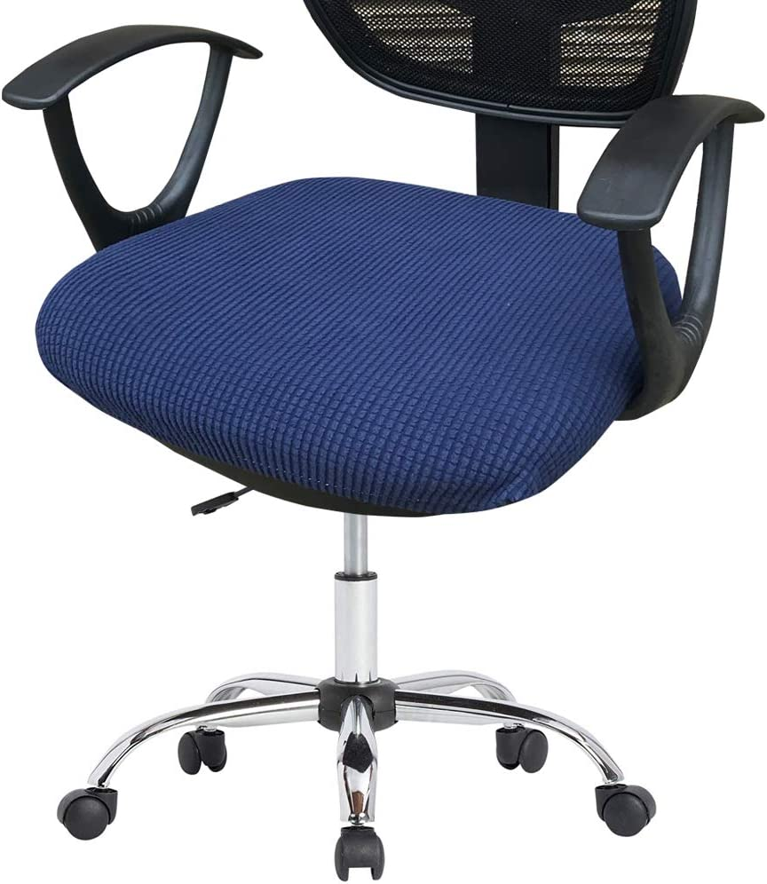 Deisy Dee Stretch Office Computer Chair Seat Covers, Removable Washable Anti-dust Desk Chair Seat Cushion Protectors C173 (Navy Blue)
