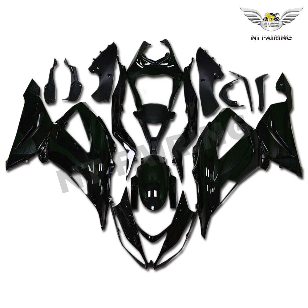 NT FAIRING Glossy Black Fairing Fit for KAWASAKI NINJA 2013-2018 ZX6R 636 New Injection Mold ABS Plastics Bodywork Body Kit Bodyframe Body Work ZX-6R 2014 2015 2016 2017 13 14 15 16 17 18